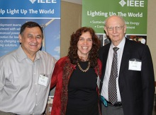 Laura Stachel, We Care Solar, poses with CSI co-chairs Robin Podmore and Ray Larsen during the CSI workshop in San Jose, CA.