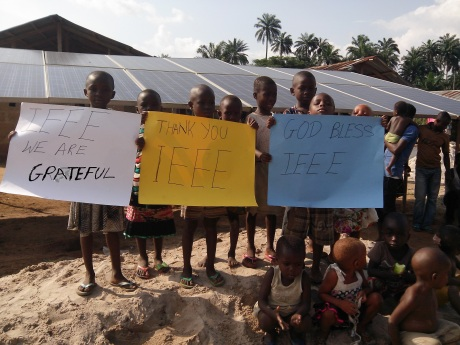 Children in Nigeria thank all of IEEE, including CSI, for providing affordable off-grid electricity to the Egbeke community in Rivers State, Nigeria
